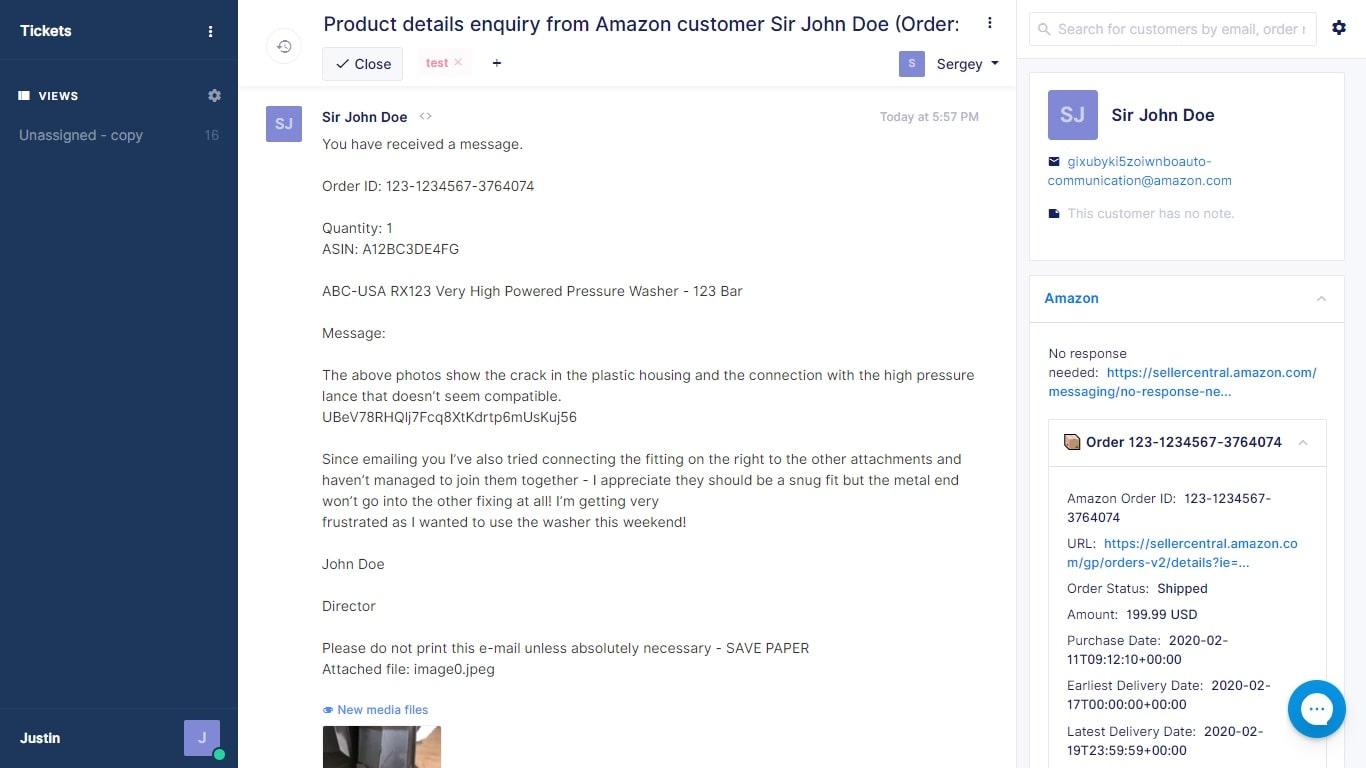 Gorgias-Amazon Messaging