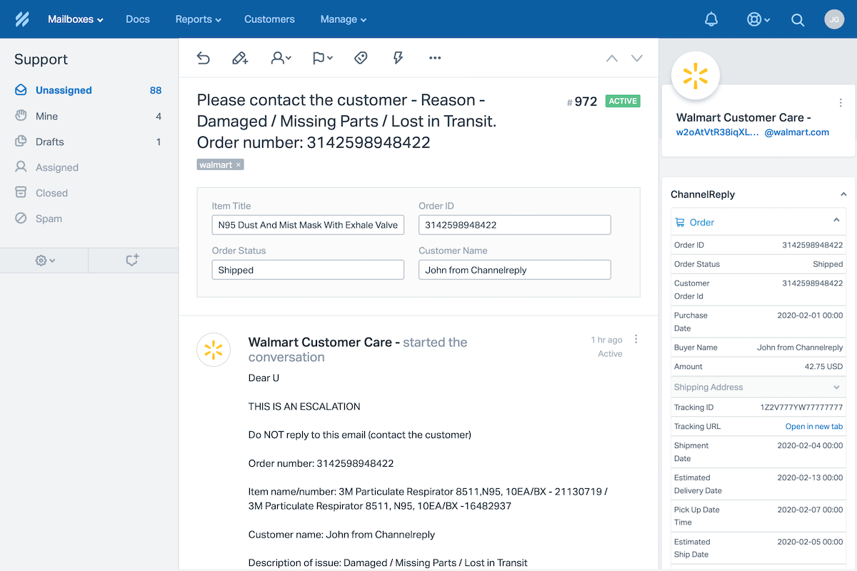 A Walmart Escalation in Help Scout with ChannelReply