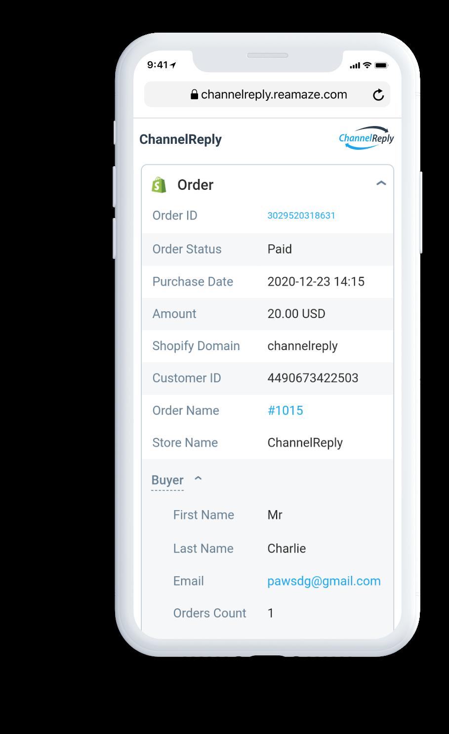 Amazon Data in the Re:amaze Mobile App