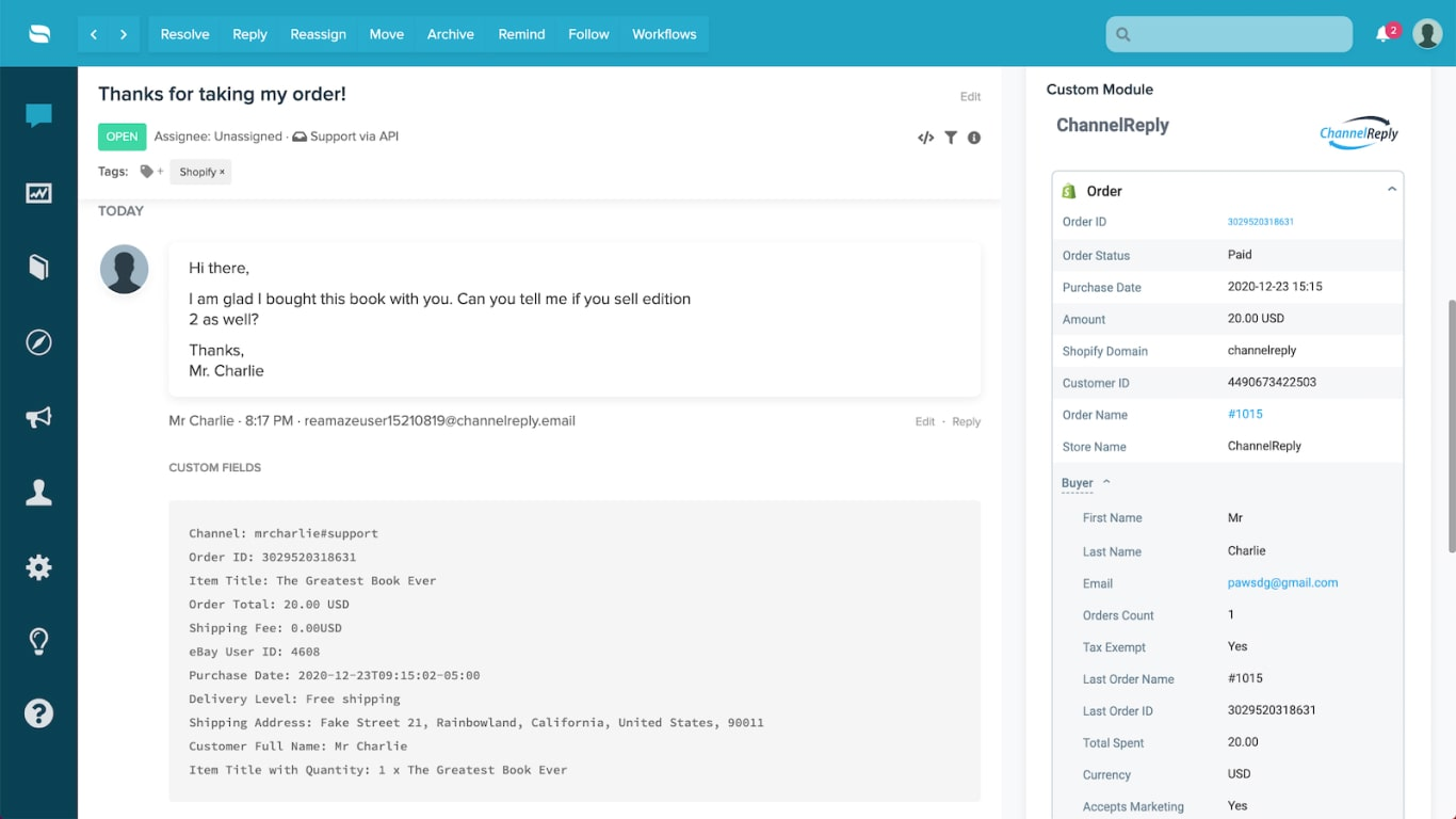 Screenshot of ChannelReply's Shopify Integration for Re:amaze